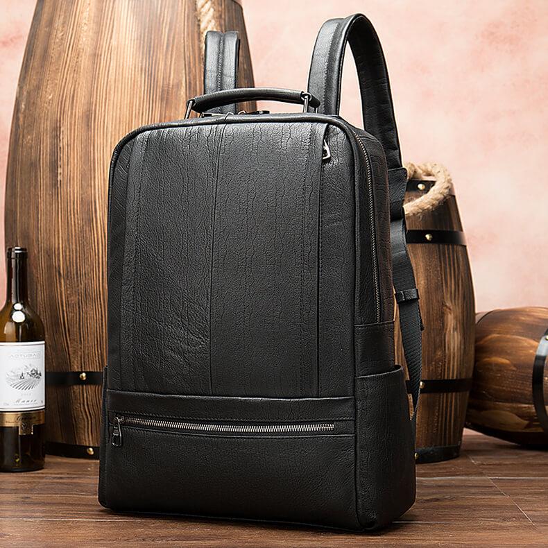 moderner schwarzer rucksack aus leder f r freundin. Black Bedroom Furniture Sets. Home Design Ideas