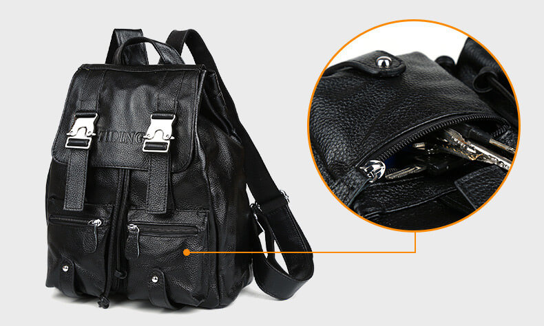 schwarzer rucksack aus leder f r reisen. Black Bedroom Furniture Sets. Home Design Ideas