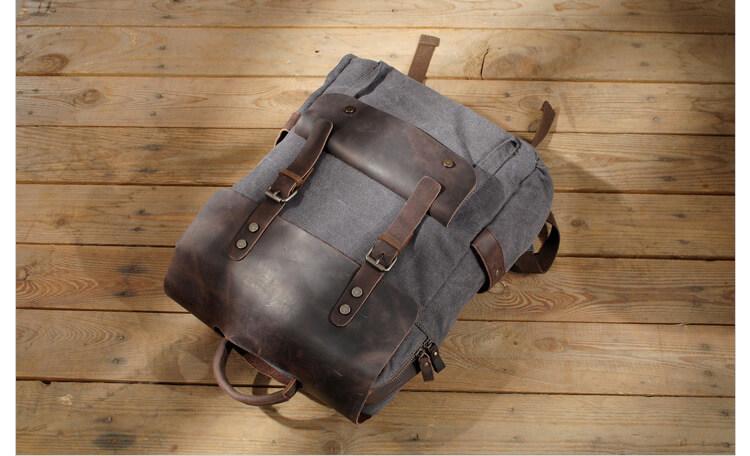 rucksack segeltuch leder