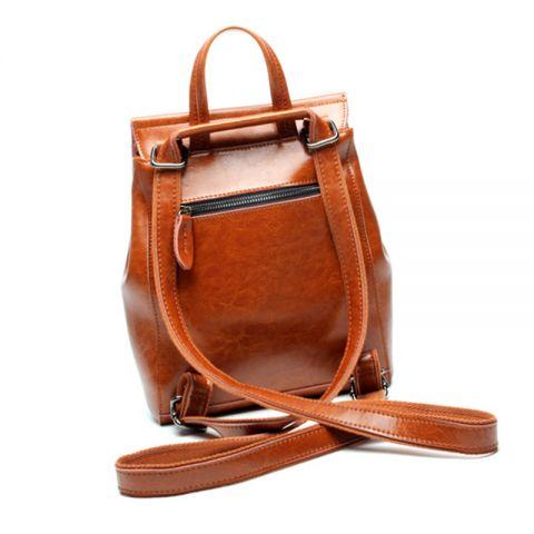 brauner Rucksack Damen Leder Backpacker für Alltag