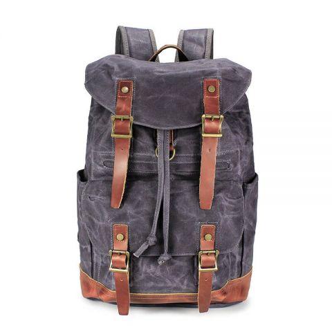 Canvas Rucksack Leder Backpack Herren für Schule