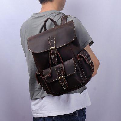 braun Leder Rucksack Herren Vintage große Laptoptasche