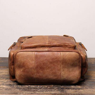 schwarzer Rucksack Leder für Herren große Laptoptasche