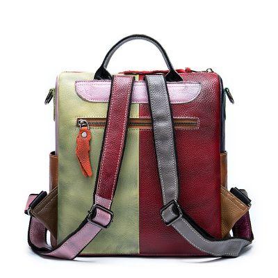 2 in 1 Rucksack Handtasche Damen Lederrucksack bunt