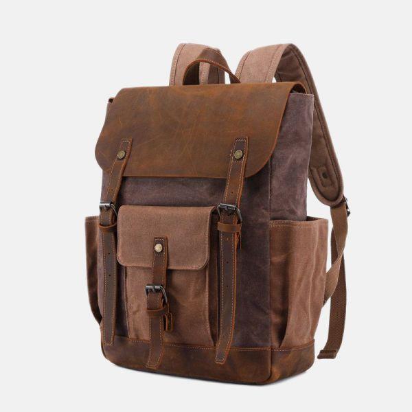 gewachstes Canvas Rucksack Herren Leder Backpack