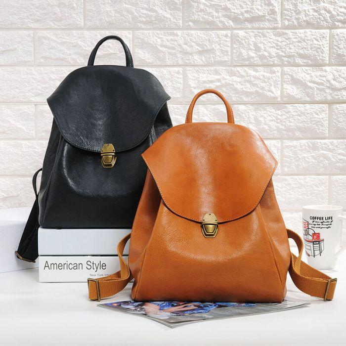 Rucksack Damen Vintage Leder Lederrucksack schwarz und braun