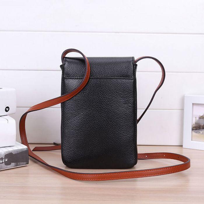 kleine Umhängetasche für Handy Vintage Leder Handytasche