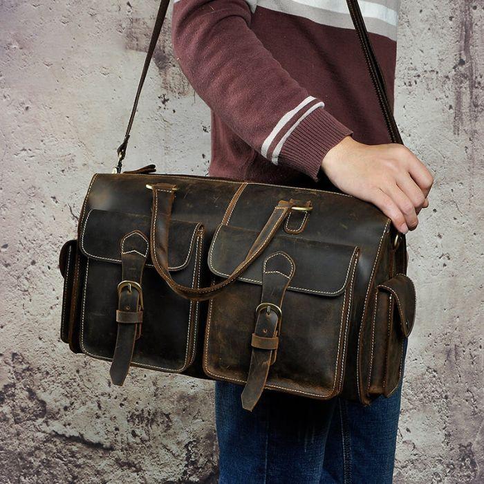 Leder Leder Umhängetasche Herren Vintage Handtasche für Reisen