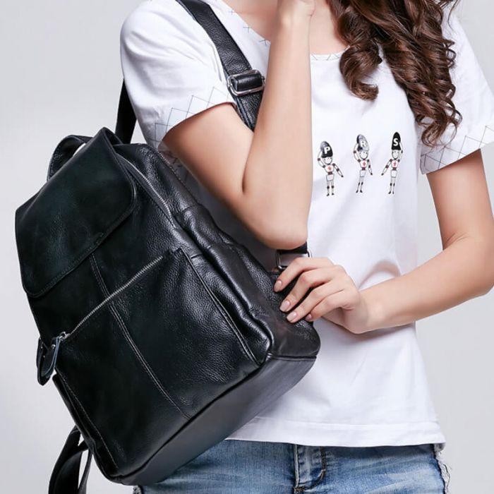 moderner Rucksack Vintage Damen aus Leder für Freizeit