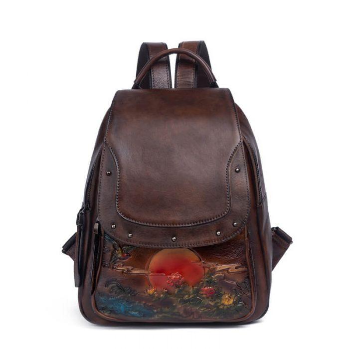 schwarzer Rucksack Damen aus Leder für Alltag