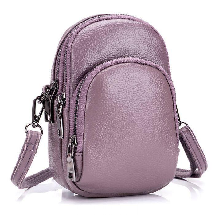 Handytasche Damen Leder in 4 Farben kleine Umhängetasche Armtasche