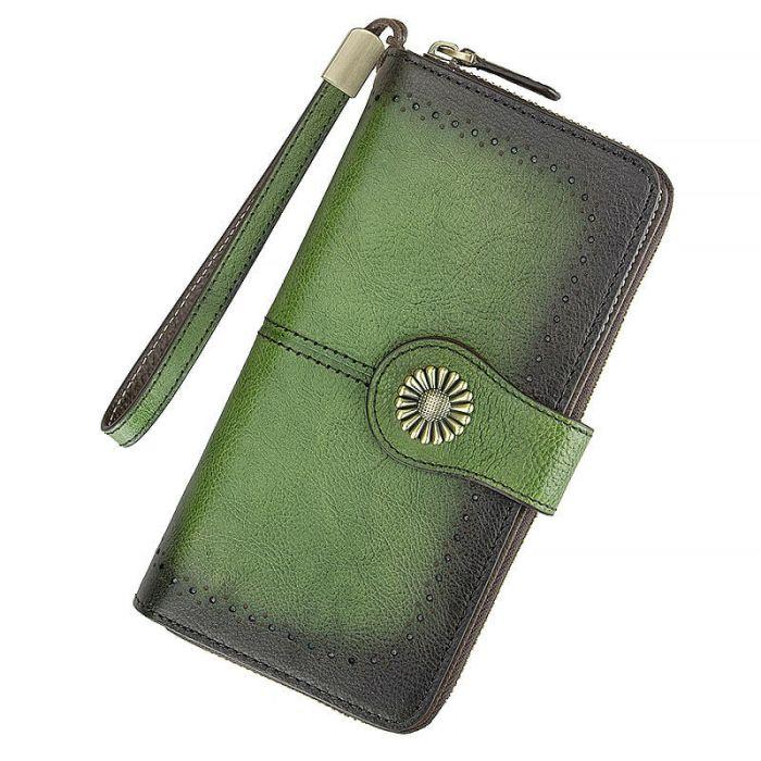Portemonnaie Damen Vintage Geldbörse Leder lang