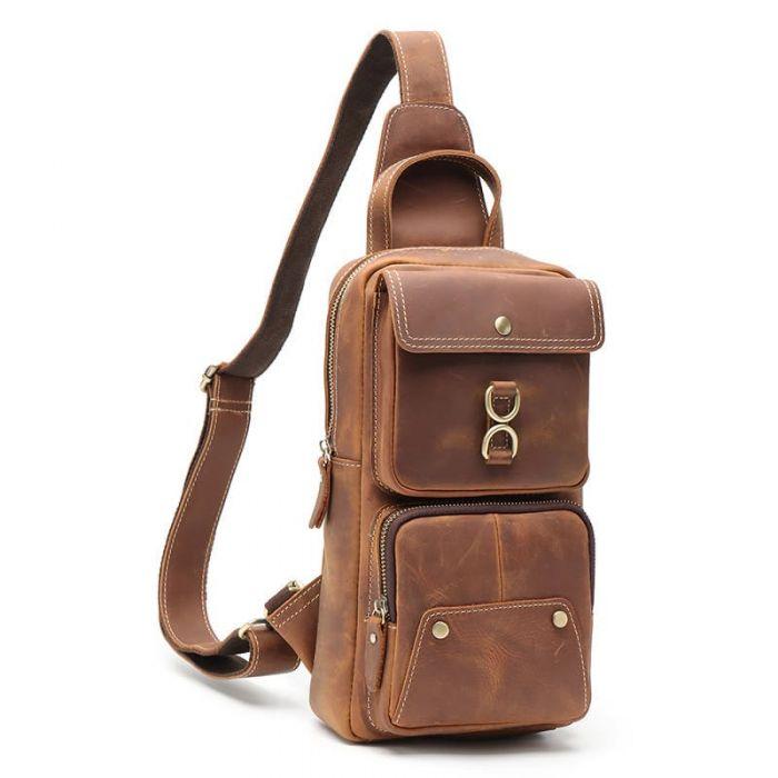 braune Brustbeutel Leder für Herren Brusttasche