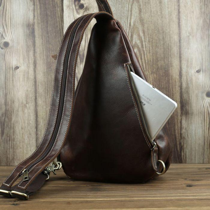 Rucksack Herren Leder Vintage 1 Gurt Brusttasche