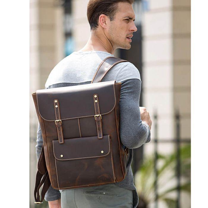 brauner Rucksack Herren aus Leder für und Alltag