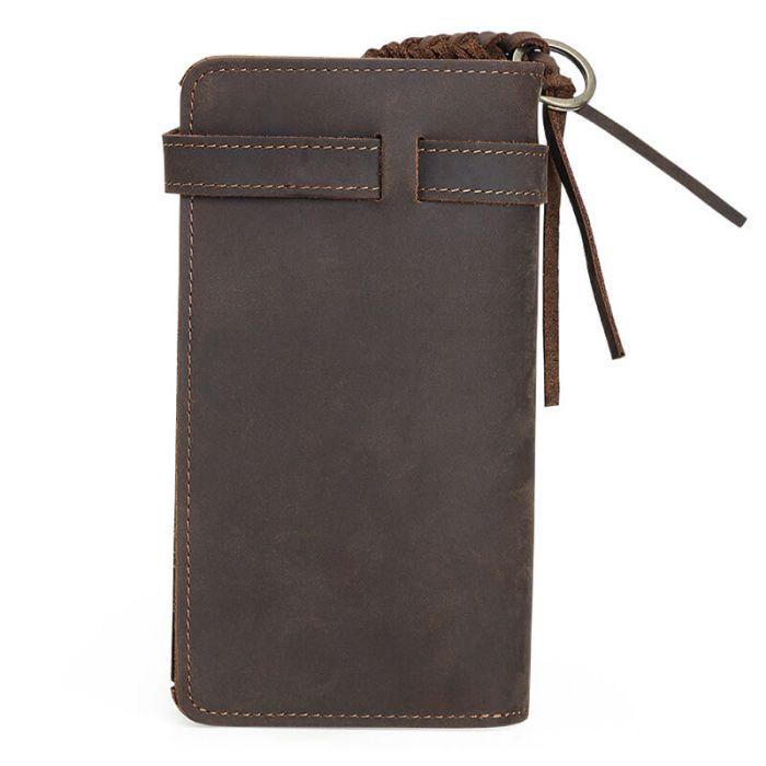 braune Geldbörse Herren Leder lang Vintage Portemonnaie mit Münzfach
