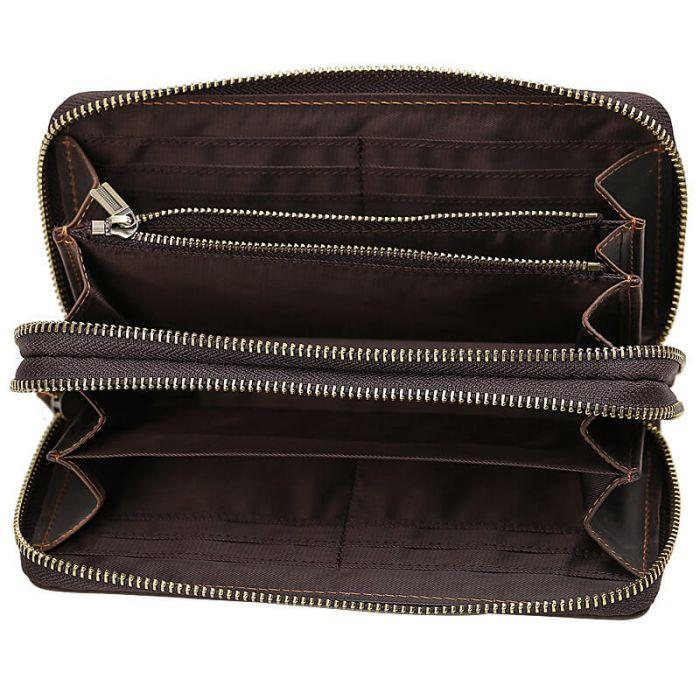 lange Geldbörse Herren Leder Vintage Portemonnaie mit Münzfach