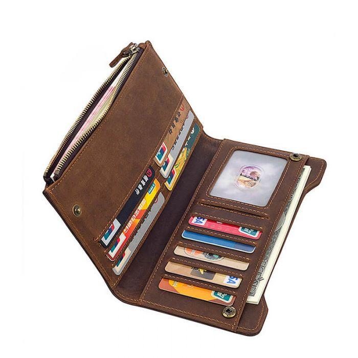 braune Geldbörse Herren Leder Portemonnaie Lang RFID Schutz