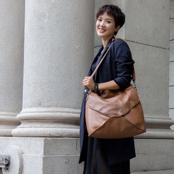 braune Umhängetasche Damen Leder große Schultertasche