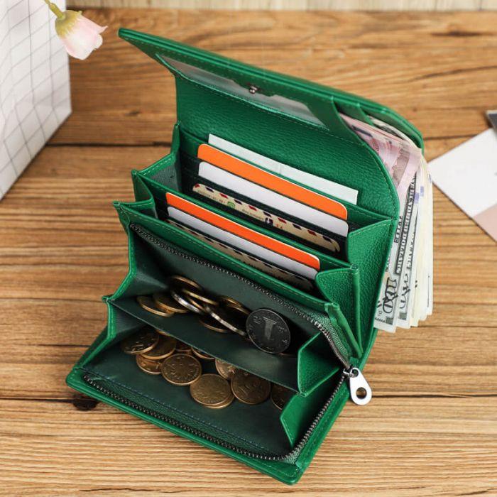 Damen Geldbörse für Portmonee Damen Leder