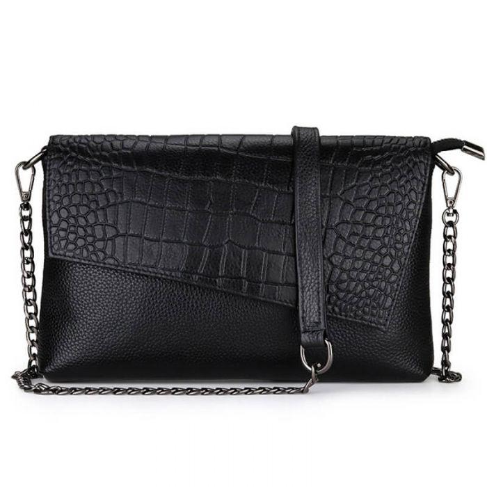 günstige Damen Clutch Umhängetasche aus Leder mit Kette