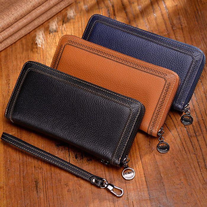 Geldbörse Damen Vintage Leder Geldbeutel Portemonnaie lang
