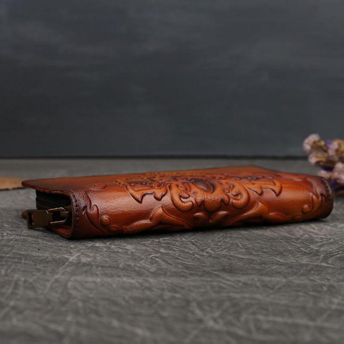 Geldbörse Damen Leder blau Geldbeutel Portemonnaie