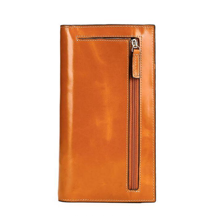 Geldbörse Damen lang Leder braune Portemonnaie