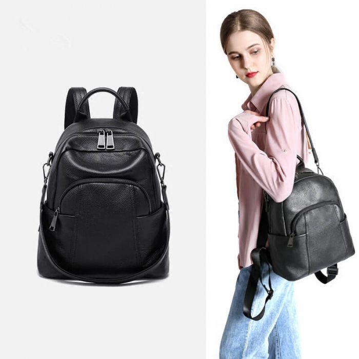 Leder rucksack Umhängetasche Kombi Damen in braun und schwarz