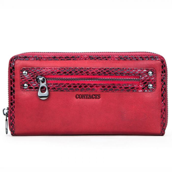 Geldbörse Damen rot Leder Clutch RFID Portemonnaie lang