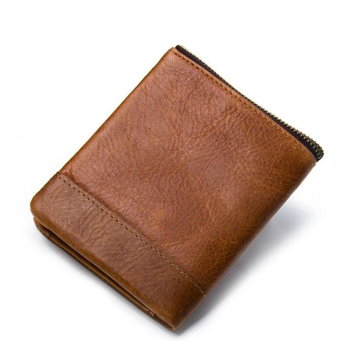 Herren RFID Geldbörse braun portemonnaie mit Reißverschluss