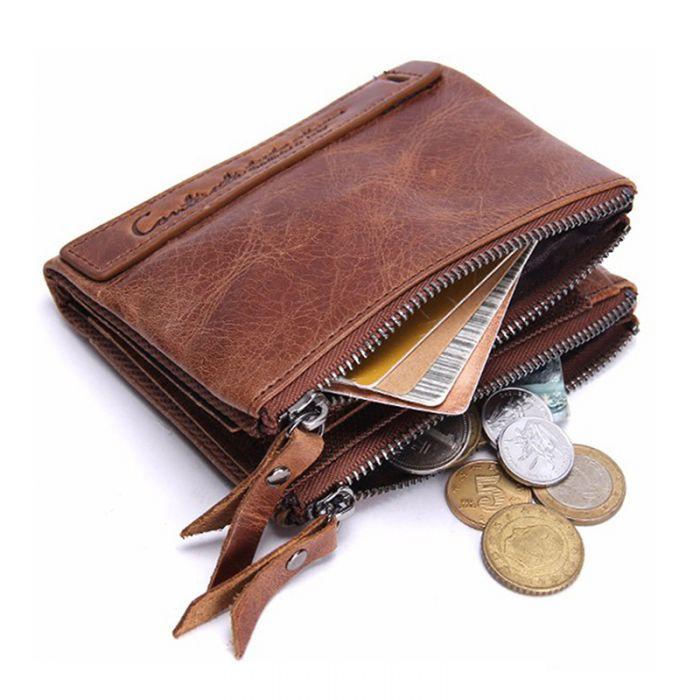 günstig mini Geldbörse Herren Leder Portemonnaie braun mit Kartenfach