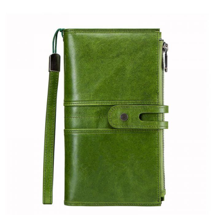 Portemonnaie Damen Leder Geldbörse lang mit Reißverschluss
