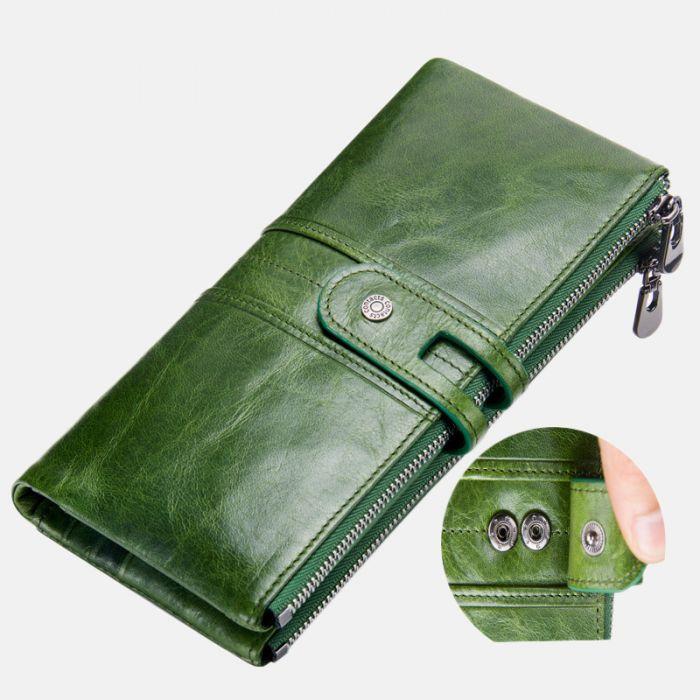 Geldbörse Damen grün Leder Geldbeutel lang