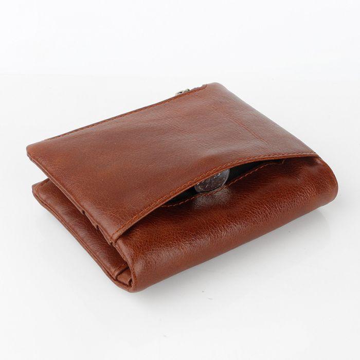 Geldbörse Herren Leder Portemonnaie klein Hochformat mit Reißverschlussfach