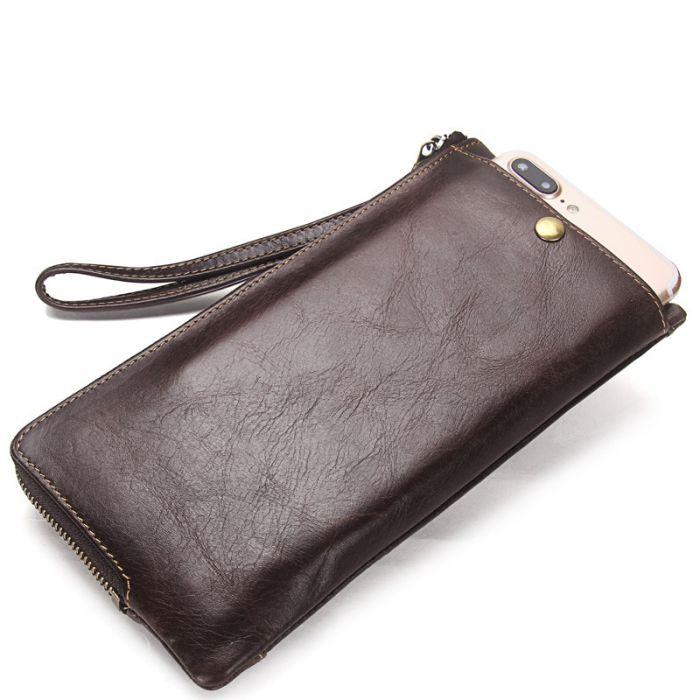 braune Geldbörse Herren Leder RFID Schutz lang Portemonnaie mit Münzfach