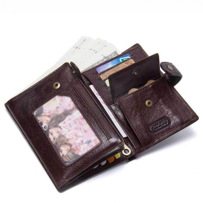 günstig Geldbörse Herren Leder Geldbeutel braun für Passport