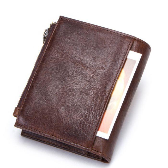 RFID Schutz Geldbörse Leder Portemonnaie Herren braun Portmonee