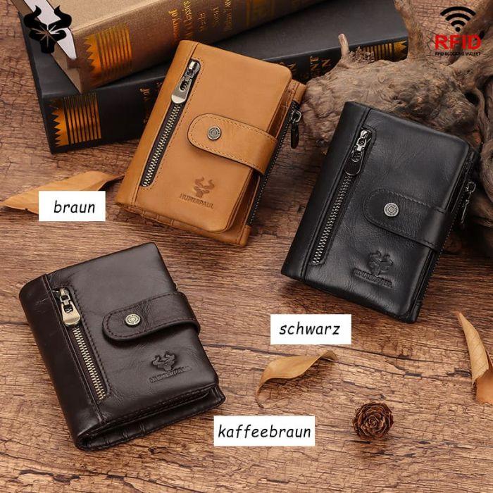 kleine Geldbörse Herren Leder Portemonnaie braun Geldbeutel