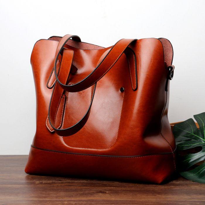 braune Handtasche Damen leder Schultertasche