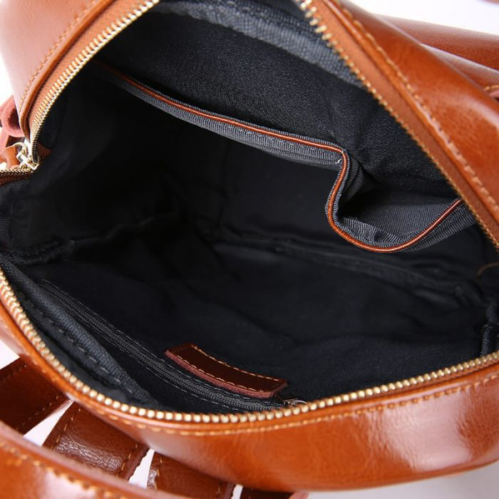 modern Rucksack Umhängetasche Kombi Damen aus echt Leder schwarz