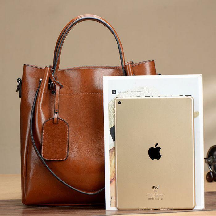 Elegante Handtasche Leder für Damen Umhängetasche in 3 Farben