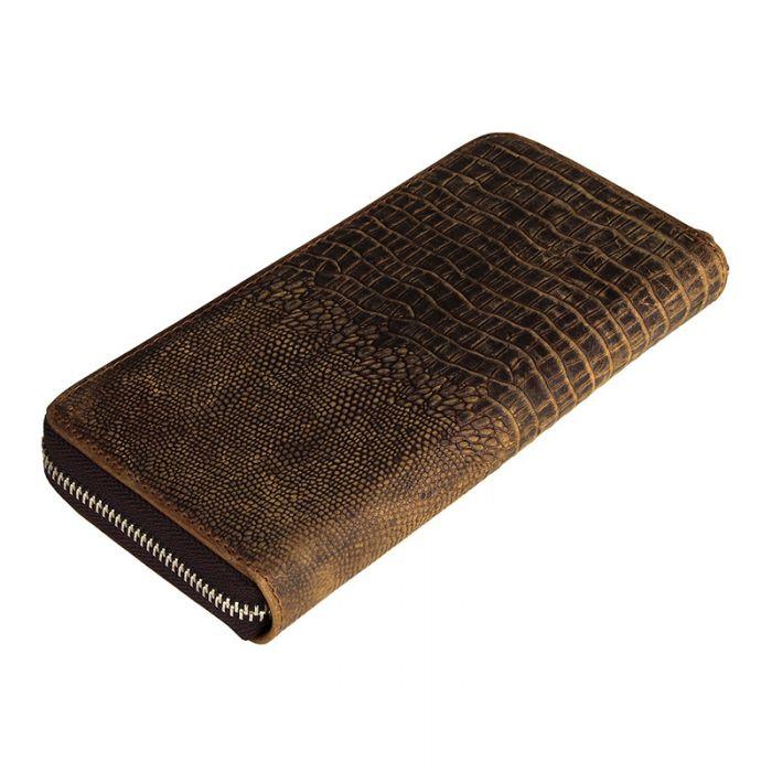 braune Geldbörse Herren Leder lang Portemonnaie in Krododil Muster