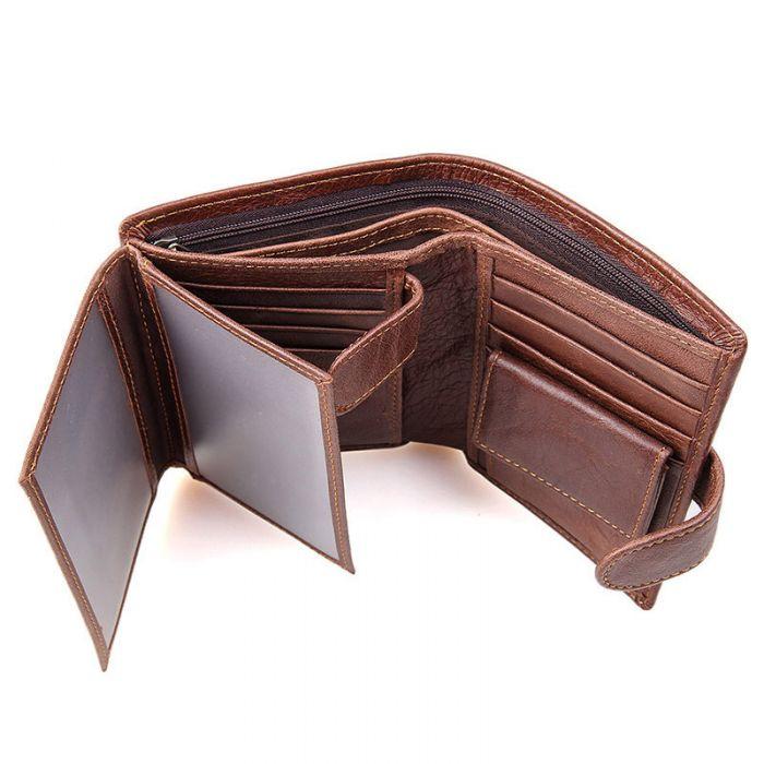 Geldbörse Herren Leder klein mit Münzfach Geldbeutel braun