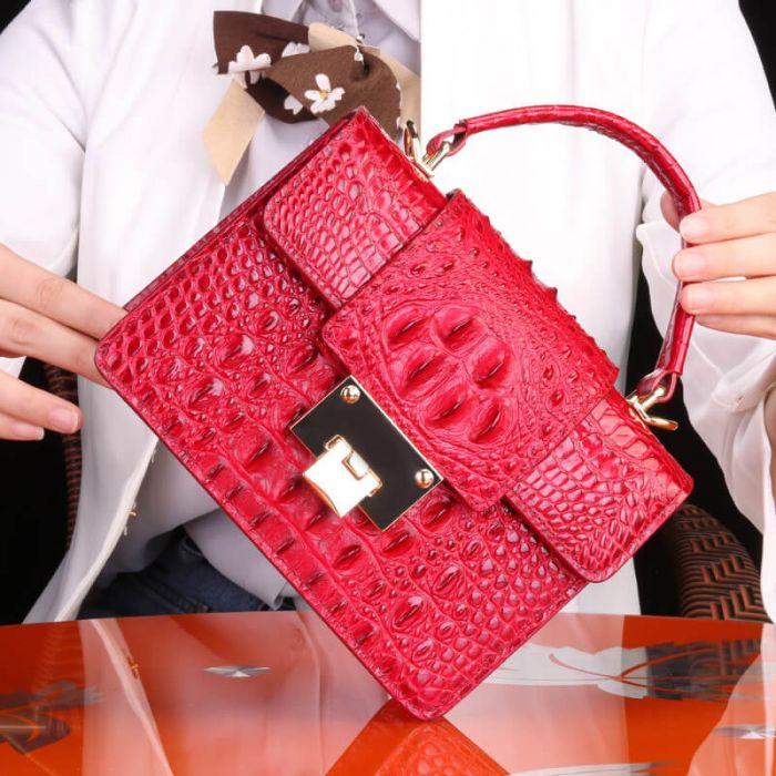 Leder Handtasche Damen Kroko Optik Umhängetasche