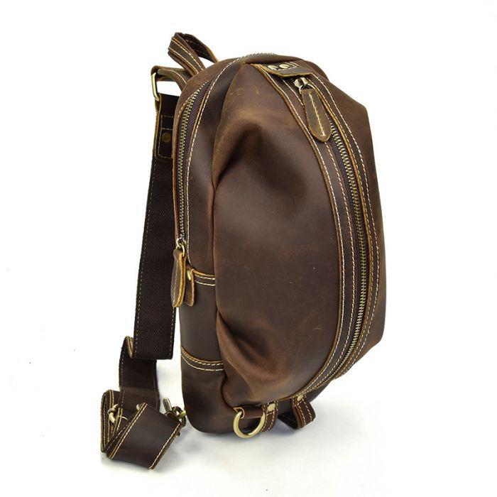 braune Brustbeutel aus Leder für Herren Brusttasche