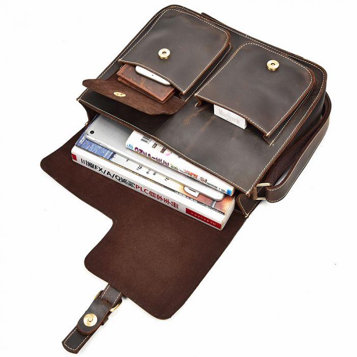 retro Umhängetasche Leder Herren Vintage Businesstasche