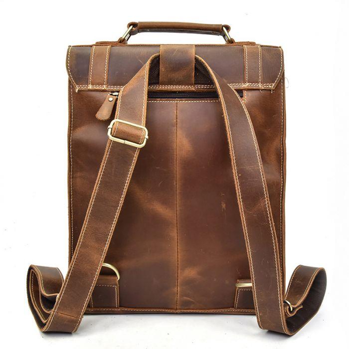 braun Rucksack Herren Leder Vintage große Laptoptasche