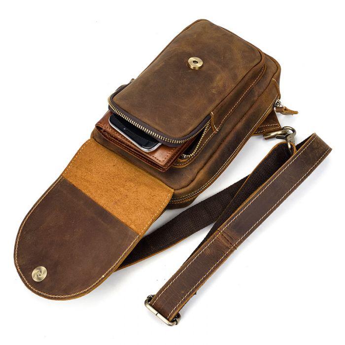 Brustbeutel Leder für Männer Rucksack mit 1 Schultergurt
