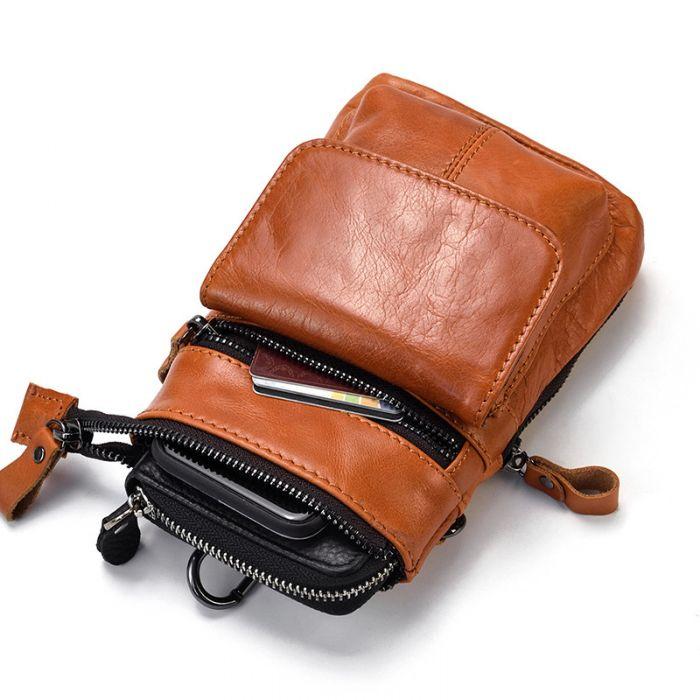 kleine Umhängetasche Handytasche Herren Leder Hüfttasche